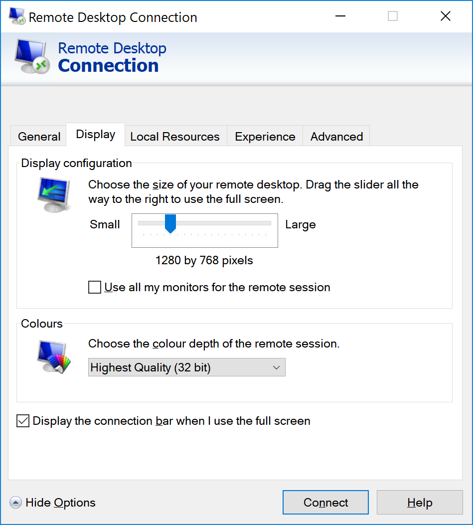 Remote Desktop Connection (mstsc) using 4K screen - Forum365